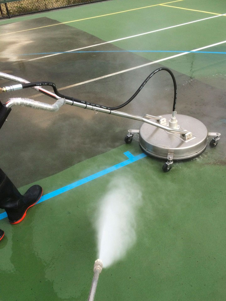 High Pressure Cleaning Tennis Court - Safe & Clean