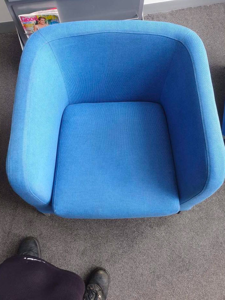 Professional Spotless Upholstery Cleaning - Blue Chair.